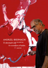 """Catalog cover. It is very distinctive due to the use of a very red background. On the right side there is a reproduction of one of the painter's paintings with his image. On the left side there is the text: Andrzej Biernacki, """"On the rotation of bodies"""" painting, May 14 - June 13, 2021. The reproduction shows a human in a very dynamic pose. He gives the impression that he is falling with his hands down from a great height, he twists slightly, his mouth is open. The man is naked. The color of his pale, even white skin stands out against the background of the red background. To emphasize the contours of the human body, the artist also used black and red, which when mixed with white on some parts of the body turns pink."""